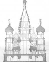 Лист XIV. Василий Блаженный: Разрез собора.