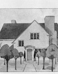 Тип английскаго коттеджа на небольшую семью. Фасад изящен своей простотой. Иллюстрация из книги Стори В.Г. «Дачная архитектура за границей». 1913