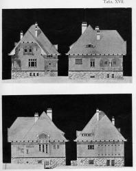 Четыре фасада небольшого каменного на гранитном фундаменте особняка. На стенах орнаментация из цветного изразца. Иллюстрация из книги Стори В.Г. «Дачная архитектура за границей». 1913