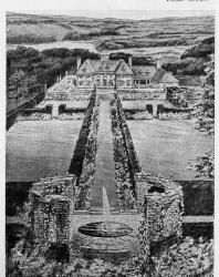 Пример обработки сада в французском стиле с фонтаном; дорожки обсажены подстриженными кустами. Вдали заметен двухэтажный особняк. Иллюстрация из книги Стори В.Г. «Дачная архитектура за границей». 1913