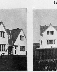 Каменная вилла в немецком стиле. С левой стороны — перспективный вид ее. Иллюстрация из книги Стори В.Г. «Дачная архитектура за границей». 1913