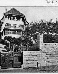 Вилла в швейцарском стиле с каменной оградой. Иллюстрация из книги Стори В.Г. «Дачная архитектура за границей». 1913