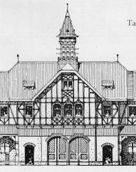 Служебные постройки, внизу могут быть каретные сараи и конюшни, на верху помещения для служащих. Фасад может быть использован и для большой дачи. Иллюстрация из книги Стори В.Г. «Дачная архитектура за границей». 1913