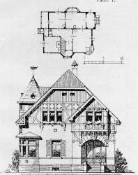 Двухэтажный особняк в немецком стиле. Иллюстрация из книги Стори В.Г. «Дачная архитектура за границей». 1913