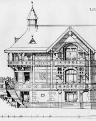 Двухэтажный с полуподвалом особняк. Комнат немного по числу, но значительных размеров. Иллюстрация из книги Стори В.Г. «Дачная архитектура за границей». 1913