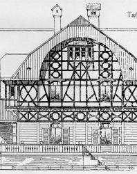 Небольшой особняк смешанного типа, низ каменный, верх деревянный. Иллюстрация из книги Стори В.Г. «Дачная архитектура за границей». 1913
