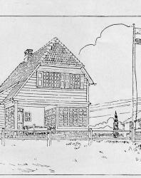 Бревенчатый охотничий домик в швейцарском стиле. Иллюстрация из книги Стори В.Г. «Дачная архитектура за границей». 1913