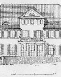 Загородный особняк. По удобству плана может быть приспособлен под комнатную систему. Иллюстрация из книги Стори В.Г. «Дачная архитектура за границей». 1913