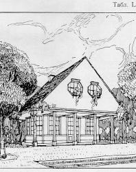 Небольшой домик в швейцарском стиле. Может быть каменный или деревянный. Наверху мезонин. Иллюстрация из книги Стори В.Г. «Дачная архитектура за границей». 1913