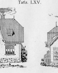 Небольшая загородная вилла. Очень удобная распланировка комнат. Помещены два фасада, главный и боковой. Иллюстрация из книги Стори В.Г. «Дачная архитектура за границей». 1913