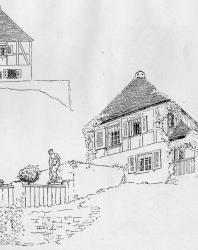 Пример расположения усадьбы на косогоре. Иллюстрация из книги Стори В.Г. «Дачная архитектура за границей». 1913