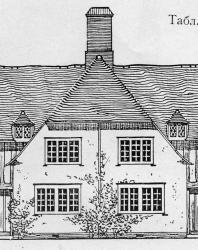 Каменный дом на четыре квартиры в стиле английского коттеджа. Представлены два противоположных фасада. Может быть использован как домик для рабочих на заводе. Иллюстрация из книги Стори В.Г. «Дачная архитектура за границей». 1913
