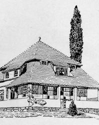 Вилла каменная с мезонином. Может быть бревенчатая. Иллюстрация из книги Стори В.Г. «Дачная архитектура за границей». 1913