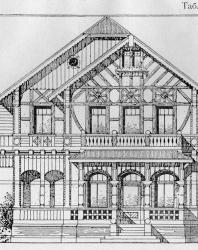 Двухэтажный особняк в ложнорусском стиле; может быть приспособлен и под доходный дом. Иллюстрация из книги Стори В.Г. «Дачная архитектура за границей». 1913