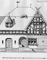 Небольшая служебная надворная постройка: кучерская, конюшня и сарай. Иллюстрация из книги Стори В.Г. «Дачная архитектура за границей». 1913