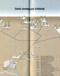 Схема космодрома Байконур из книги «Главный строитель Байконура». 2004