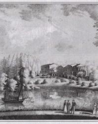 Царское Село. Вид павильона за прудом. Литография Ф. Бенуа и Ж. Жакотте с оригинала И. Рауха