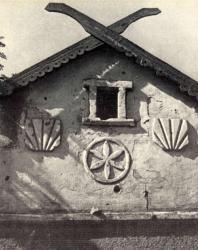 Резные украшения стены жилого дома. Лазо. Иллюстрация из книги «Каменный цветок Молдавии». Гоберман Д.Н. 1970
