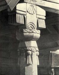 Верхняя часть колонки с кистевидными украшениями. Лазо. Иллюстрация из книги «Каменный цветок Молдавии». Гоберман Д.Н. 1970