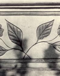 Цветочный узор на парапете галереи. Желобок. Иллюстрация из книги «Каменный цветок Молдавии». Гоберман Д.Н. 1970
