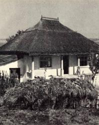 Жилой дом с хозяйственной пристройкой. Желобок. Иллюстрация из книги «Каменный цветок Молдавии». Гоберман Д.Н. 1970