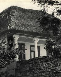 Дом под камышовой крышей. Бранешты. Иллюстрация из книги «Каменный цветок Молдавии». Гоберман Д.Н. 1970