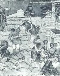 17. Ярославль. Храм Ильи Пророка (1647—1650 гг.): «Жатва» — фреска (1680—1681 гг.)