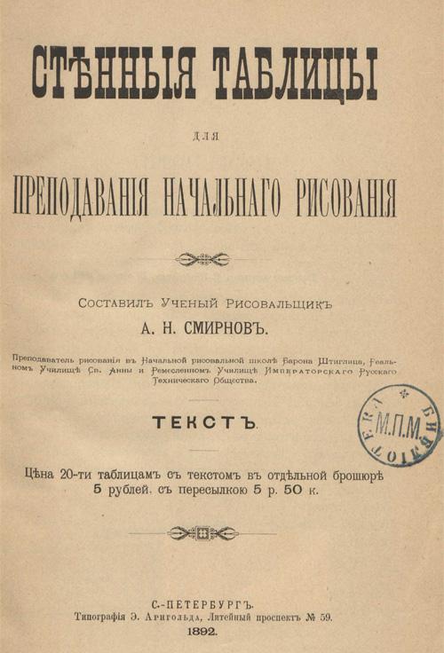 Стенные таблицы для преподавания начального рисования. Смирнов А.Н. 1892
